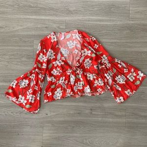 Red Floral Bell Sleeve Top